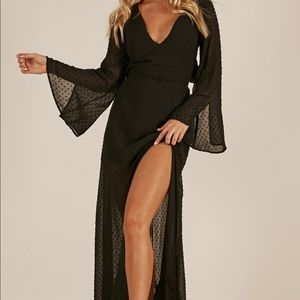 Black maxi dress with slit and detailed back
